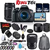 6Ave Canon Rebel T6i DSLR Camera with 18-55mm Lens, 55-250mm Lens and Sigma 135mm Art Lens Accessory Bundle International Model