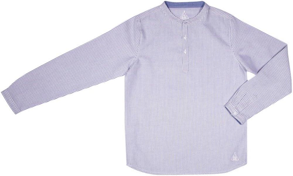 LILILOTTE - Camisa - Cuello Mao - para niño Rayé Bleu/Blanc 12 años: Amazon.es: Ropa y accesorios