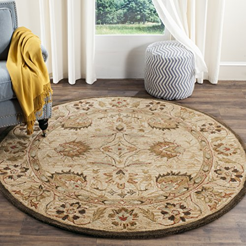 Safavieh Antiquities Collection AT812A Handmade Traditional Beige and Beige Wool Round Area Rug (6' -