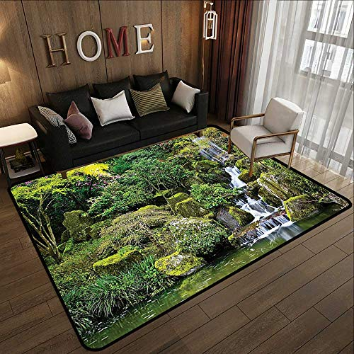 - Bathroom mats and Rugs,Country Home Decor,Pond in Asian Style Garden Arboretum Trees Bush Foliage Rocks Waterscape Picture,Green 71