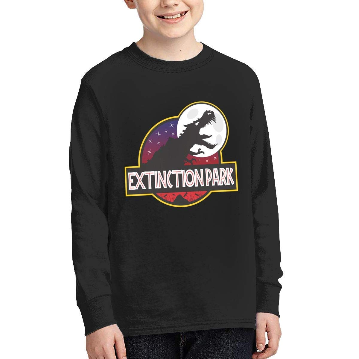 Kilsd Boys /& Girls Junior Particular Extinction Park Jurassic Park Logo Long Sleeve T-Shirt Black