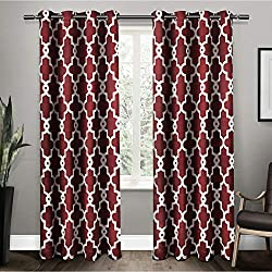 Exclusive Home Ironwork Sateen Woven Blackout Window Curtain Panel Pair with Grommet Top 52x84 Burgundy 2 Piece