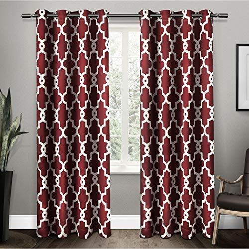 Ironwork Sateen Woven Blackout Grommet Top Curtain Panel Pair, 52x84, Burgundy, 2 Piece