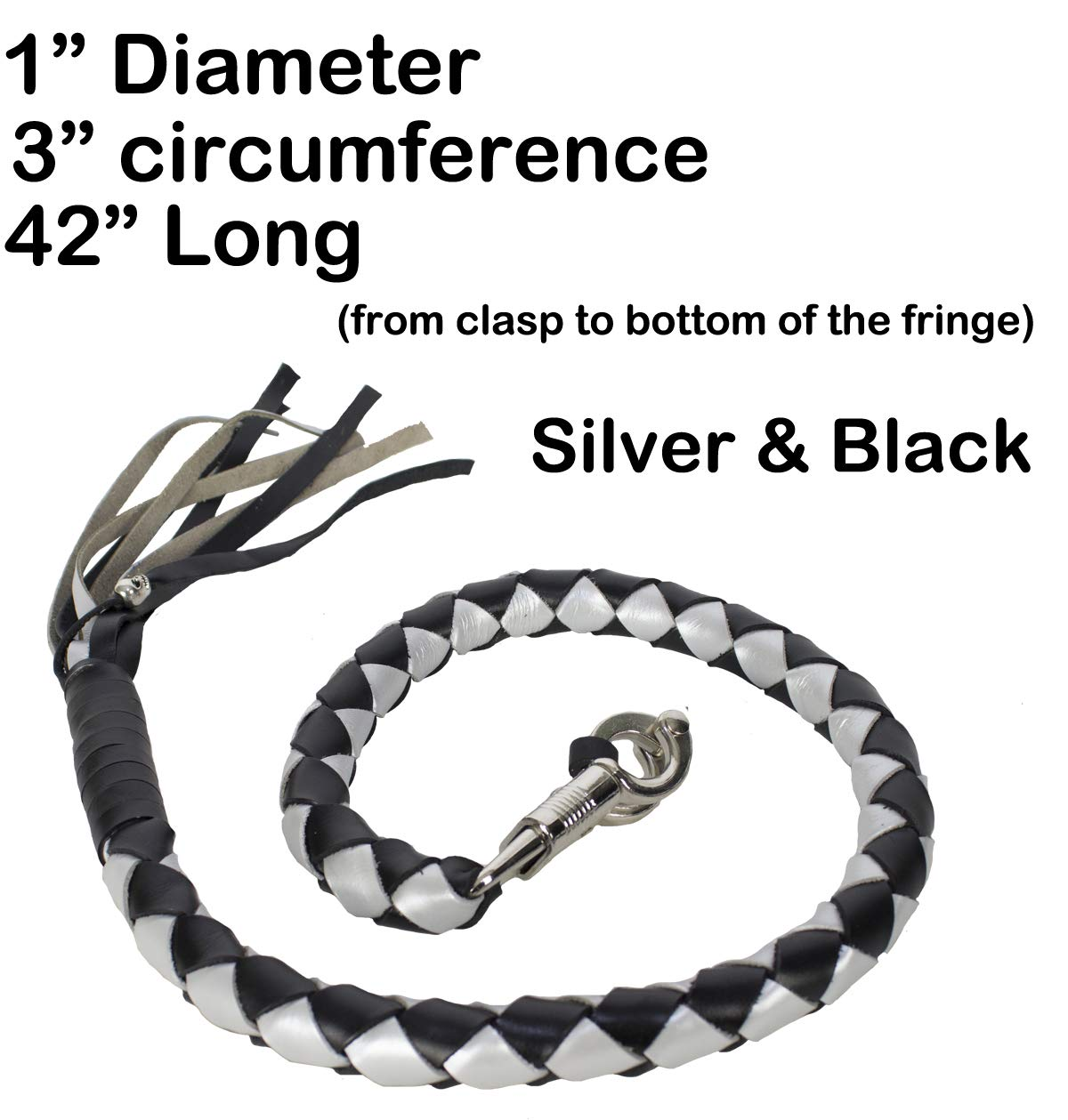 "Silver and Black Naked Soft Genuine Leather 42 Long 1/"" Diameter Motorcycle Get Back Whip"