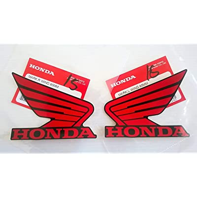 Honda 86201-K26-A00ZD / 86202-K26-A00ZD - Honda Wings Fuel Tank Gas Tank Stickers Decals 2 X 85MM Red/Black Left & Right Genuine: Automotive