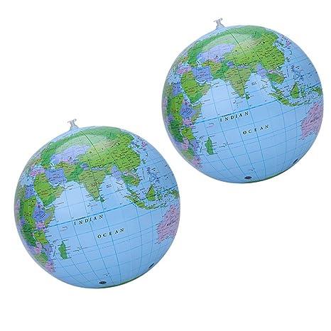 Yifanzi - Bola de Playa Hinchable de PVC, diseño de Globo terráqueo de la Tierra