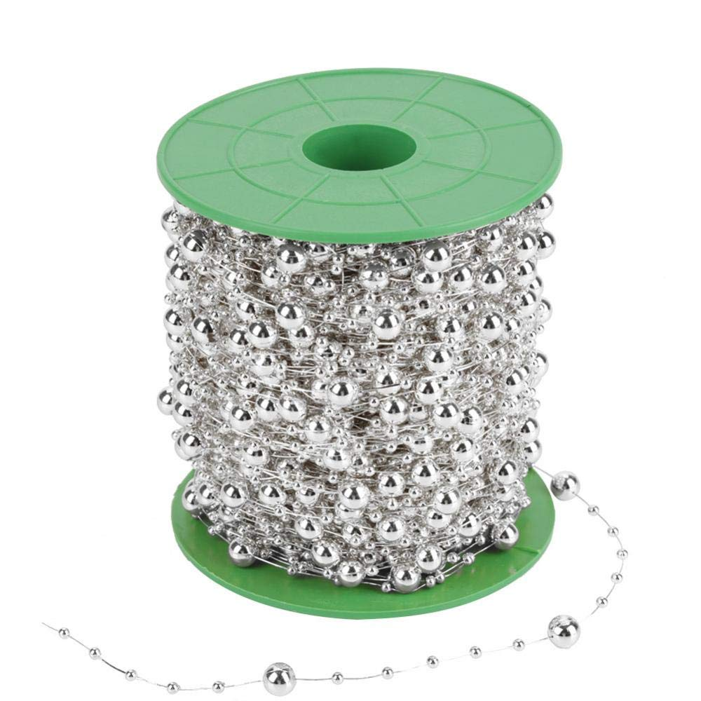 60m//Roll Electroplating Pearl Wire Beads String for DIY Wedding Party Decoration for Flower Tree Garland Bridal Bouquet 3mm+8mm golden Pearl Bead Roll