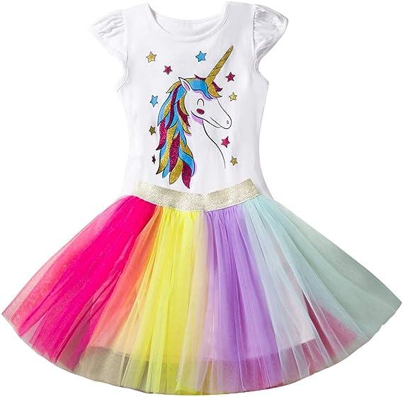 Niñas Playera y Falda de Dos Piezas Princesa Rainbow Vestido Falda ...