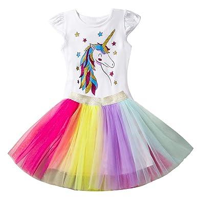 NNJXD Ragazzine Unicorn Dress Set,Stampato T-Shirt Tutu Arcobaleno Gonna Fancy Costume Party Casual per 2-7 Anni