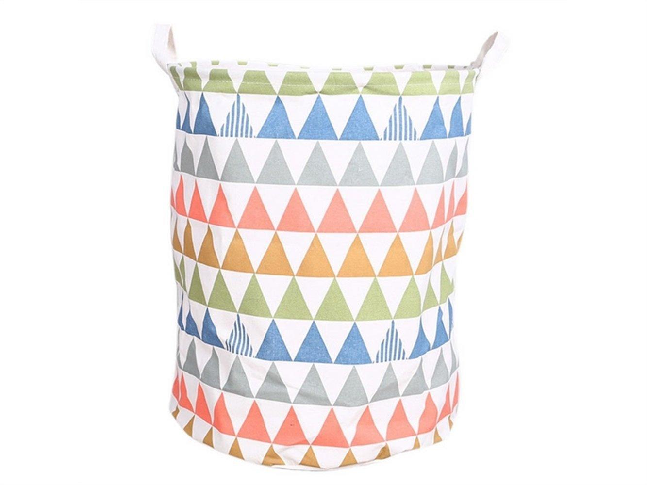 Gelaiken Lightweight Colored Triangle Pattern Storage Bucket Cotton and Linen Bucket Sundries Storage Bucket Waterproof Storage Bucket