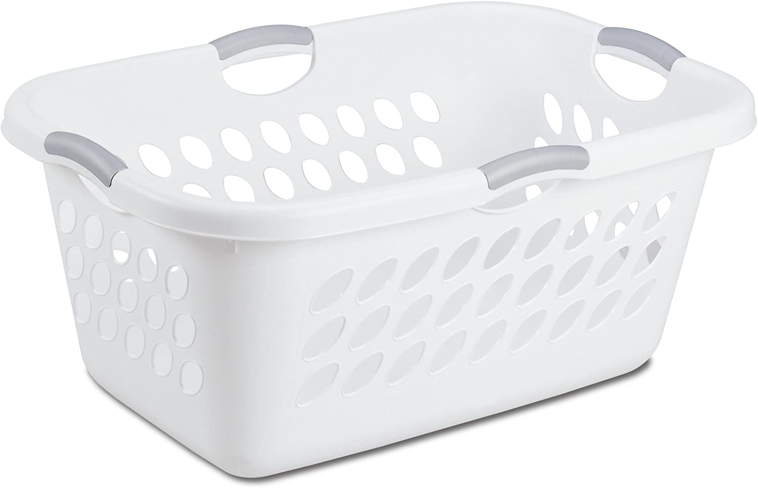 Sterilite 12158006 Ultra Laundry Basket, White with Titanium Handles