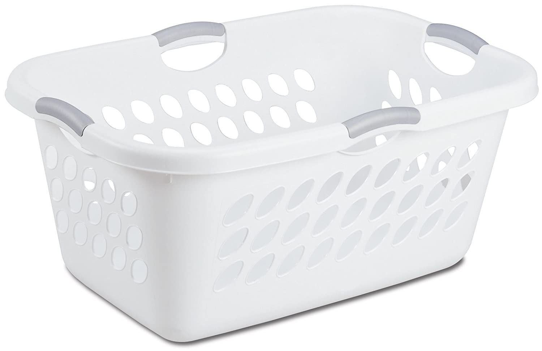 Sterilite 12158006 Ultra Laundry Basket, White with Titanium Handles