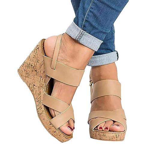Scarpe Donna Zeppa Moda Sandali con Bocca di Pesce 8 cm Scarpe col Tacco  Alto da abf4bb9ec46