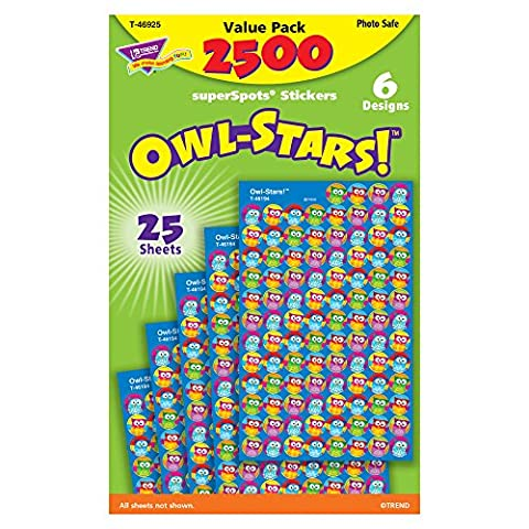 Trend Enterprises Owl-Stars! Super-Spots Stickers, 2,500 Stickers (T-46925) (Trend Educational Products)