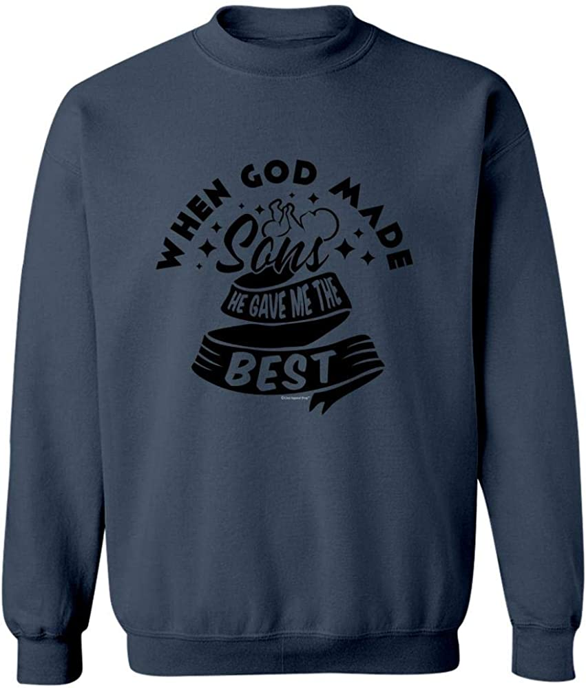 Sweatshirt Navy Mom Dad Gift Idea When GOD Made SONS He Gave Me The Best