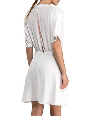 3716c97d82 Disbest Women Dress Beach Dress V Neck Pleated Flattering Ruched Stretch  Summer Dresses Knot Front Dress  Amazon.co.uk  Clothing