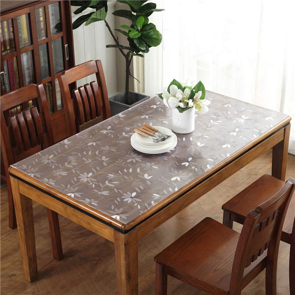 透明な印刷されたPVCのテーブルクロスのクリスタルプレートの柔らかいテーブルクロスの防水と耐油性抗スケーリング使い捨てコーヒーテーブルテーブルクロス(厚さ1.5mm、2.0mm),2.0MM,90*150CM 90*150CM 2.0MM B07RKRFVSC