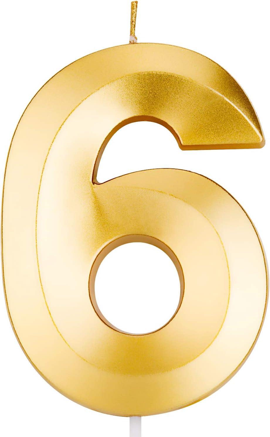 LUTER Bougies de G/âteau de Joyeux Anniversaire Gold Glitter avec Design Fold Nombre de Bougies Num/éro 2 Anniversaire Bougie D/écoration de G/âteau pour F/ête Enfants Adultes 9,5cm