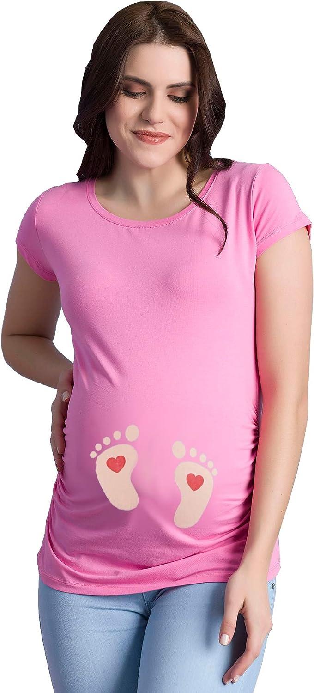 dise/ño de Huellas de beb/é con coraz/ón Camiseta de Manga Corta para Embarazo Shirtzshop