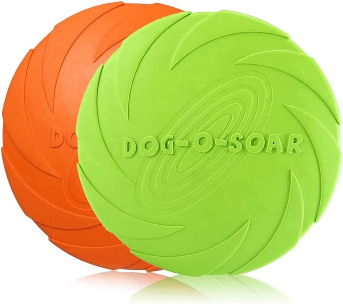 HENJI Perros interactivos Frisbee,2 Pcs Frisbee Perro,Juguete de Disco Volador para Perro,para Adiestramiento de Perros Juguetes de Tiro, Captura y Juego (L-22CM)