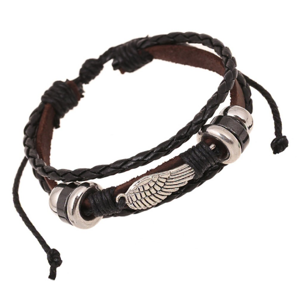 TEMEGO Jewelry Mens Womens Alloy Genuine Leather Braided Surfer Wrap Bracelet, Vintage Angle Wing Charm Cuff Bracelet, Adjustable Fits 7-12 Inch, Black Brown Silver