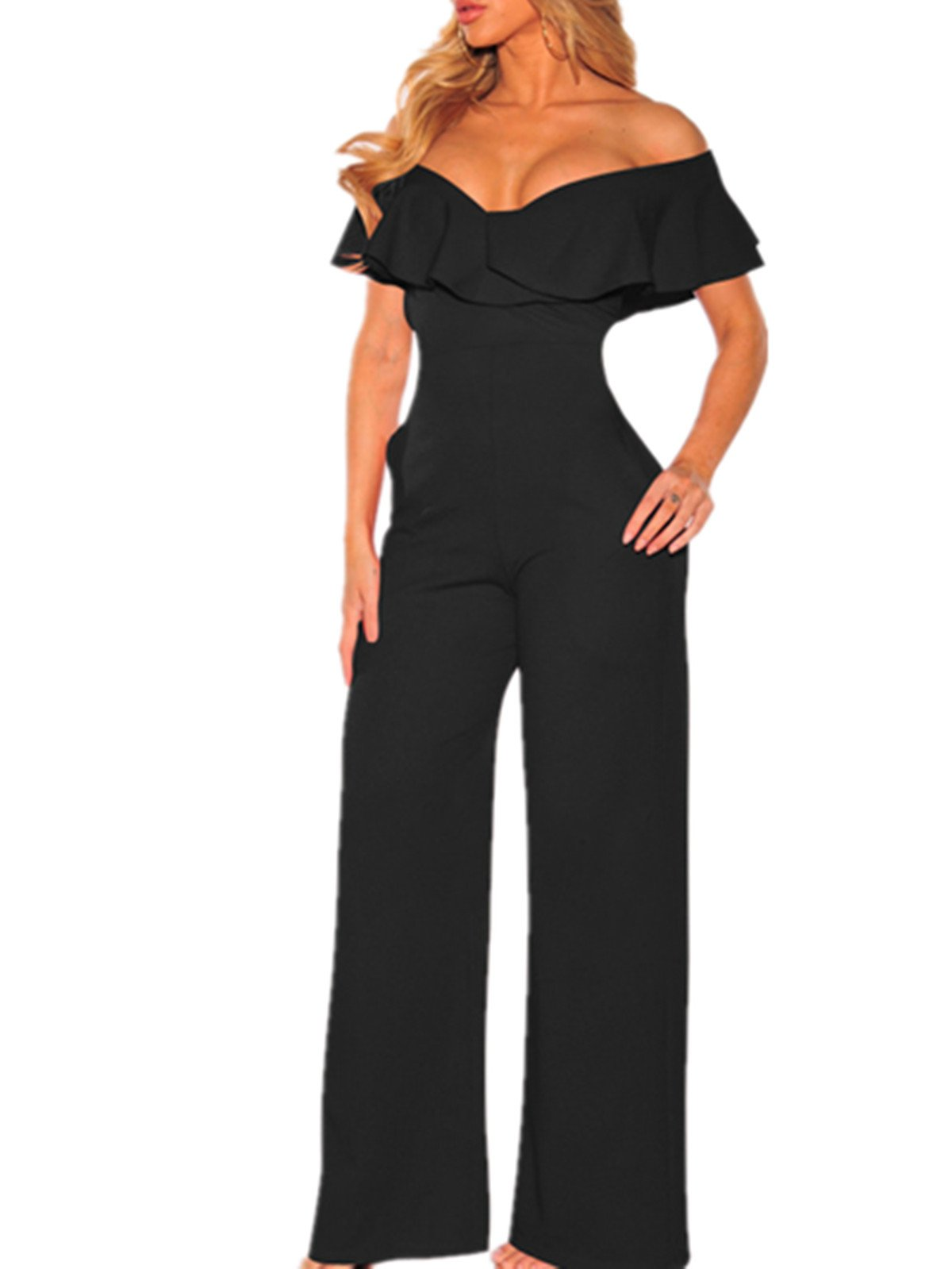 AVINE Women's Sexy V Neck High Waist Clubwear Wide Leg Long Pants Jumpsuit Rompers (Small, Black 2)