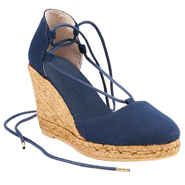 Seraih Womens Espadrille Platform Wedges Cap Toe Ankle Strap Cap Toe Mary Jane D'Orsay Heeled Sandals Deep Blue