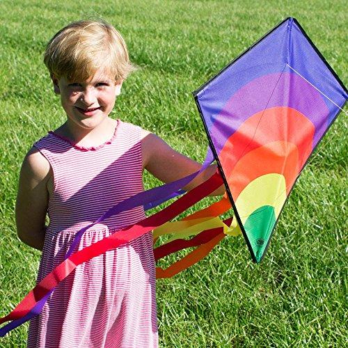 Einleiner-Drachen - Eddy-S RAINBOW - für Kinder ab 3 Jahren - Abmessung: 50x56cm - inkl. 40m Drachenschnur und Streifenschwänze