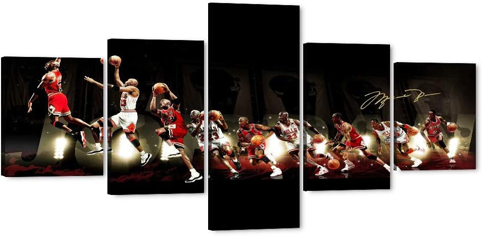 "5 Piece Michael Jordan Canvas Wall Art MJ Canvas Print for Home Wall Decor, Jordan Poster Picture Canvas Painting for Men Teen Boys Room Decor, Large Framed Canvas Print Ready to Hang (50"" Wx24 H)"