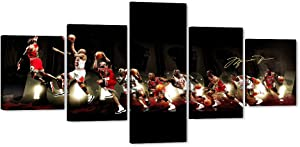 """5 Piece Michael Jordan Canvas Wall Art MJ Canvas Print for Home Wall Decor, Jordan Poster Picture Canvas Painting for Men Teen Boys Room Decor, Large Framed Canvas Print Ready to Hang (50"""" Wx24 H)"""