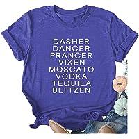 Dasher Dancer Funny T-Shirt Women Graphic Tee Humor Short Sleeve Summer Shirt Tops