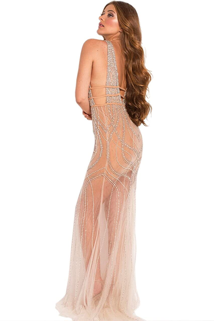 Jovani Prom 2018 Dress Evening Gown Authentic 51272 Long Nude/Silver - -: Amazon.co.uk: Clothing