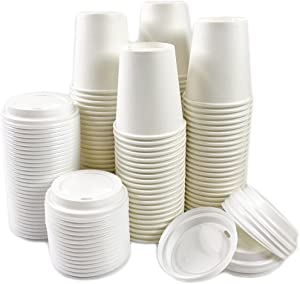 Black Cat Avenue 50 Sets 10 oz Disposable Hot White Paper Cups with Lids For Hot Drinks Coffee Cocoa Chocolate Latte Cappuccino