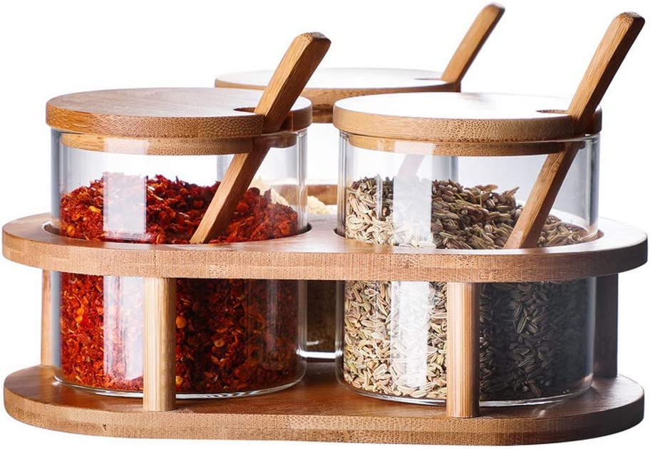 For Salt Sugar Spice Pepper Cruet Seasoning Pots Glass Condiment Container Seasoning Box Set With Bamboo Wooden Spoon Lid and Lids