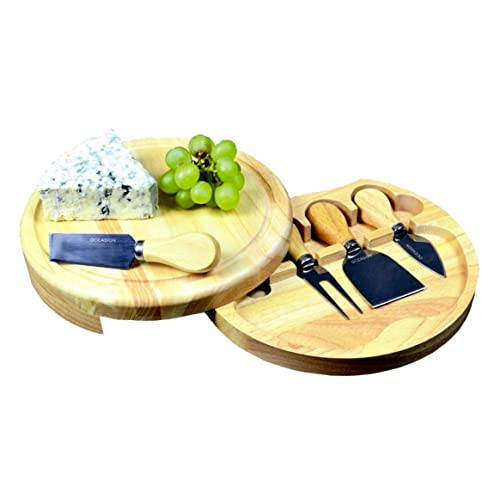 Round Slide Out Cheese Board and Knife Set