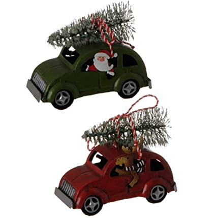 "Set of 2 Vintage 4.5"" Metal Car with Christmas Tree Ornaments - Amazon.com: Set Of 2 Vintage 4.5"
