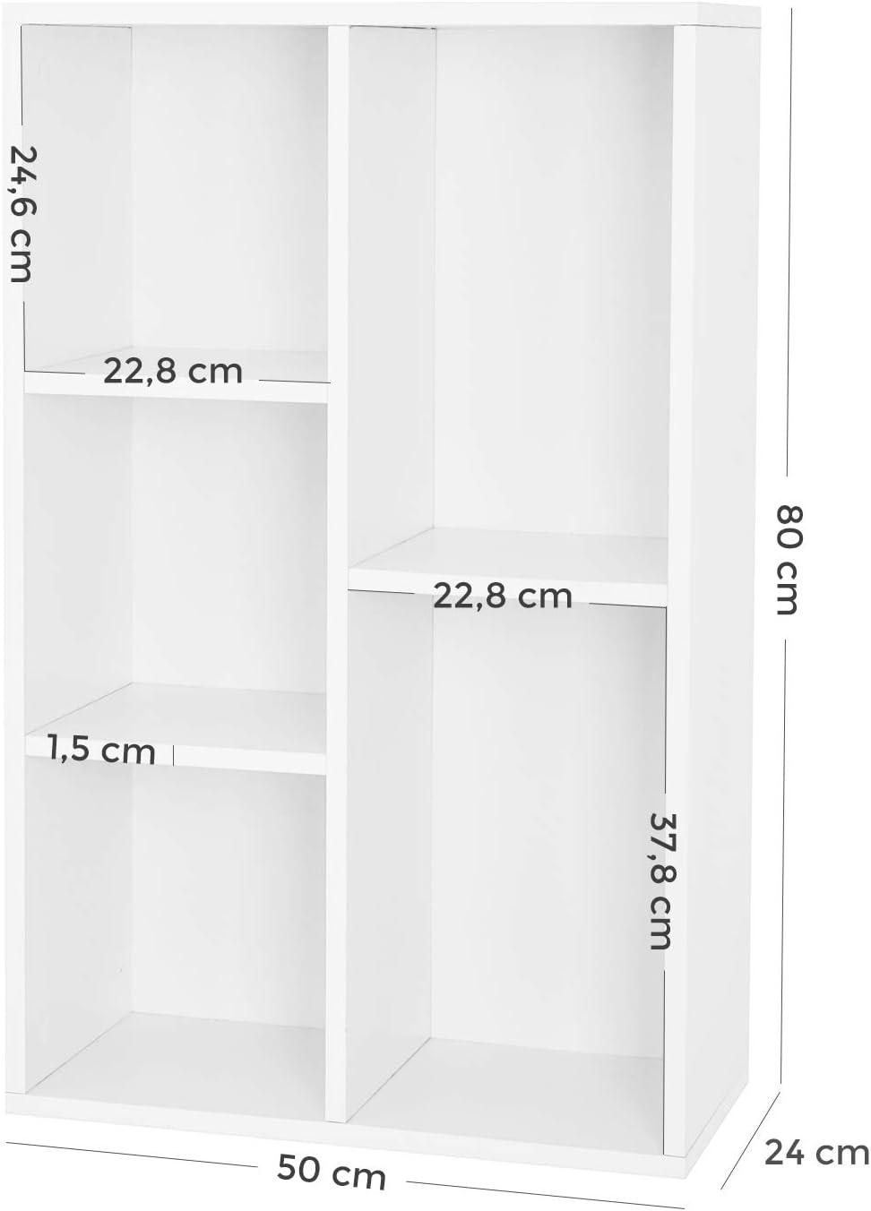 Dimensions 50 x 24 x 80 cm LBC25WT Colonne de Rangement /Étag/ère de Rangement VASAGLE Biblioth/èque /à 5 casiers Blanc L x l x H