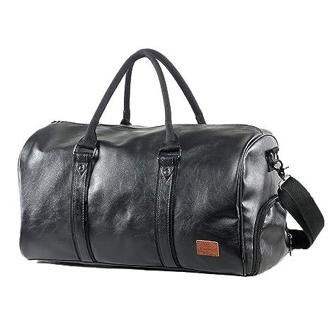 Mioy Bolsas De Viaje De Cuero Impermeable Moda Hombre Gran capacidad Bolsa de deportes totalizadores Travel Duffle (Negro)