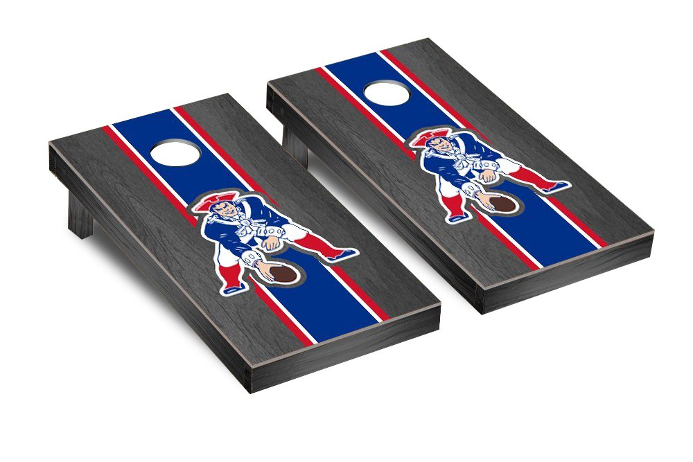 NFL New England Patriots Throwback Onyx Stained Stripe Version Football Corn hole Game Set, One Size by Victory Tailgate (Image #1)
