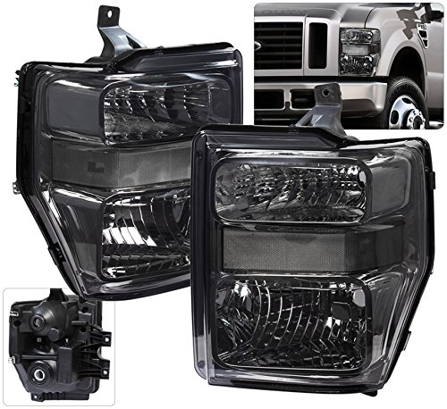 AJP Distributors Replacement Headlights For Ford F250 F350 F450 F550 Super Duty Truck (Smoke / Clear)