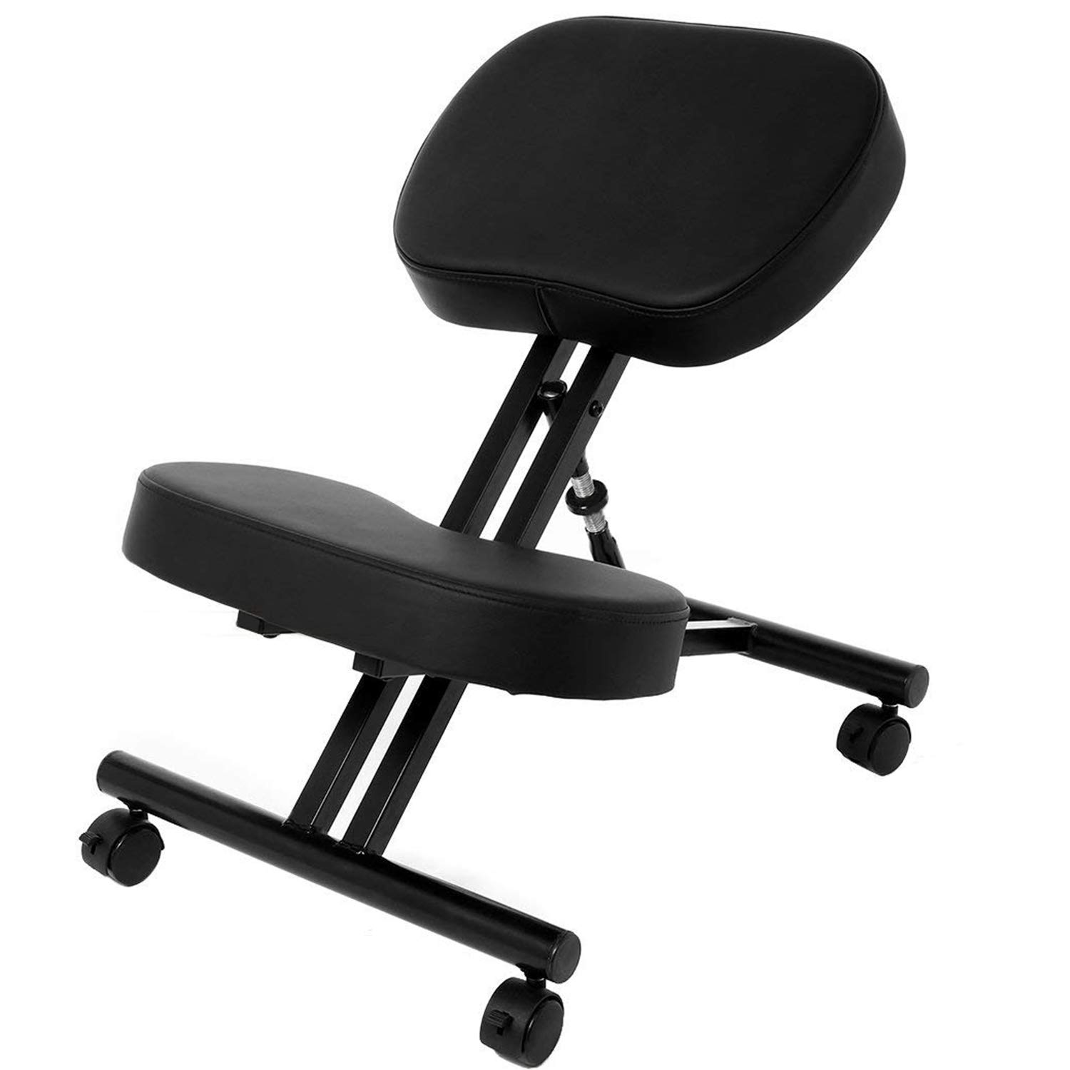 Ergonomic Kneeling Chair, Adjustable Stool for Home and Office - Improve Your Posture with an Angled Seat - Thick Comfortable Moulded Foam Cushions - Smooth Gliding Casters & Brake Casters