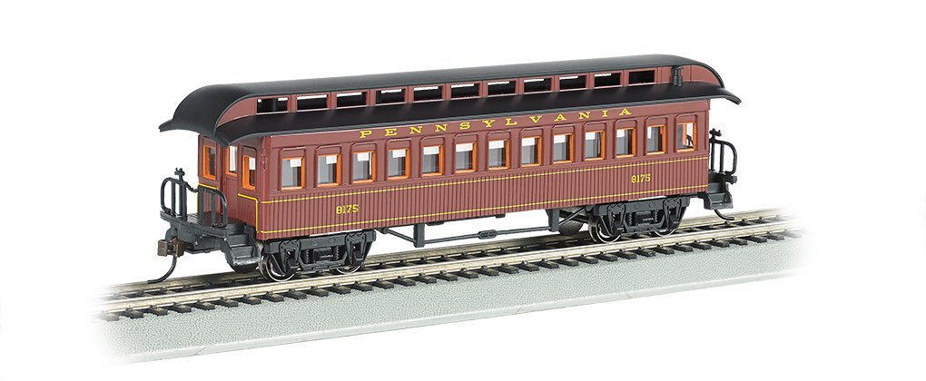 Bachmann Industries Coach Prr Ho Scale Old-Time Car with Round-End Clerestory Roof by Bachmann Trains