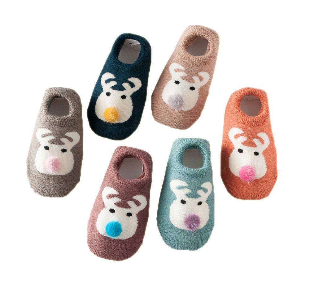 Estwell 6 Pairs Baby Boys Girls Anti Slip Socks Winter Warm Cute Animal Cotton Socks