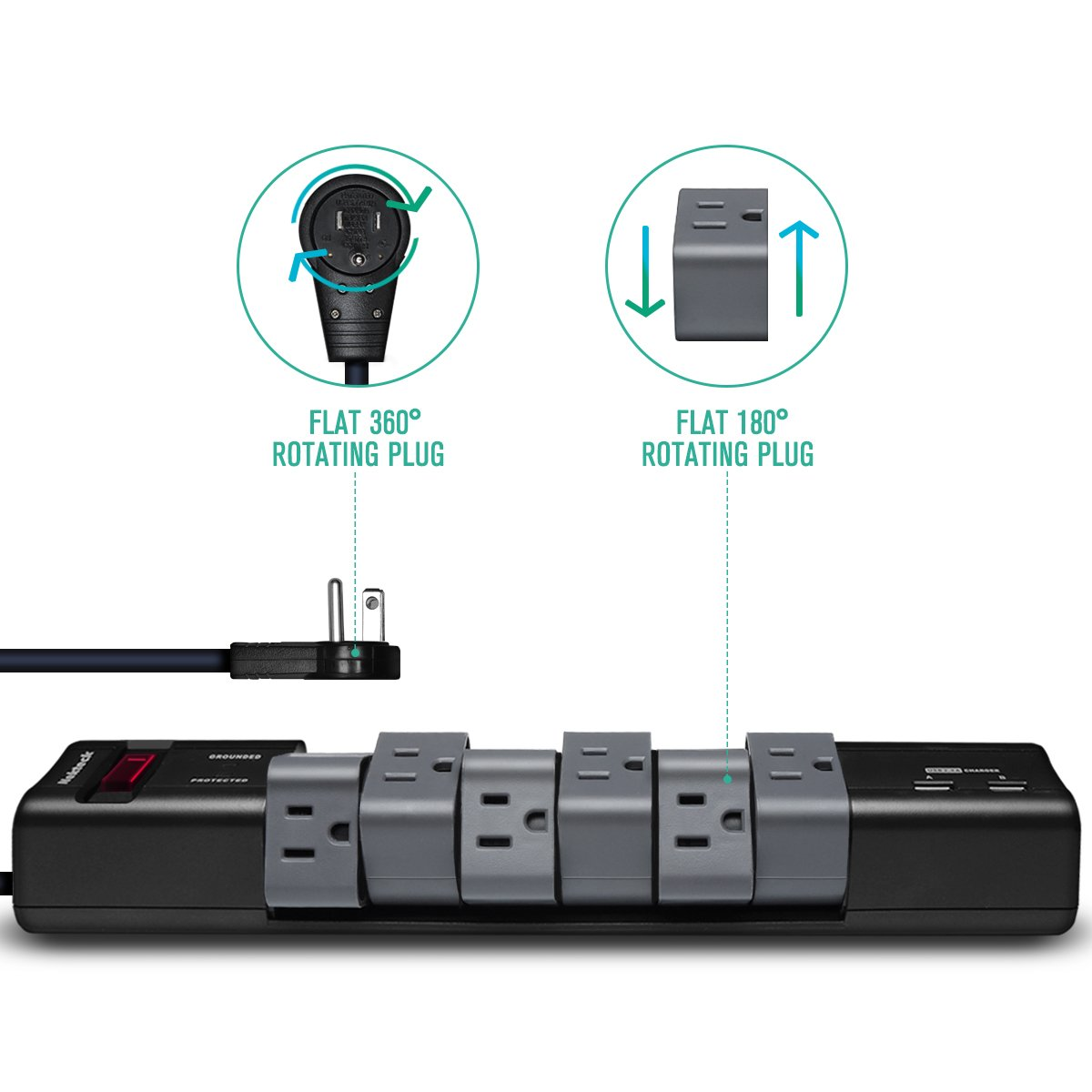 Nekteck [UL Listed] 90/180 Degree Rotating Power Strip/Surge Protector,360°Flat Wall Charger Plug with 6-Outlets 2 USB 2.4A Charging Ports and 6FT Power Extension Cord Surge Suppressor by Nekteck (Image #2)