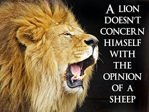 lion poster with quote