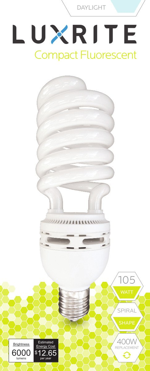 Luxrite LR20230 (10-Pack) 105-Watt High Wattage CFL Spiral Light Bulb, Equivalent To 400W Incandescent, Daylight 6500K, 6000 Lumens, E39 Mogul Base
