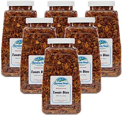 Harmony House Foods, Dried Tomatoes, Diced (8 Ounce Quart Size Jar) - Set of 6 (Diced Tomatoes Jar compare prices)
