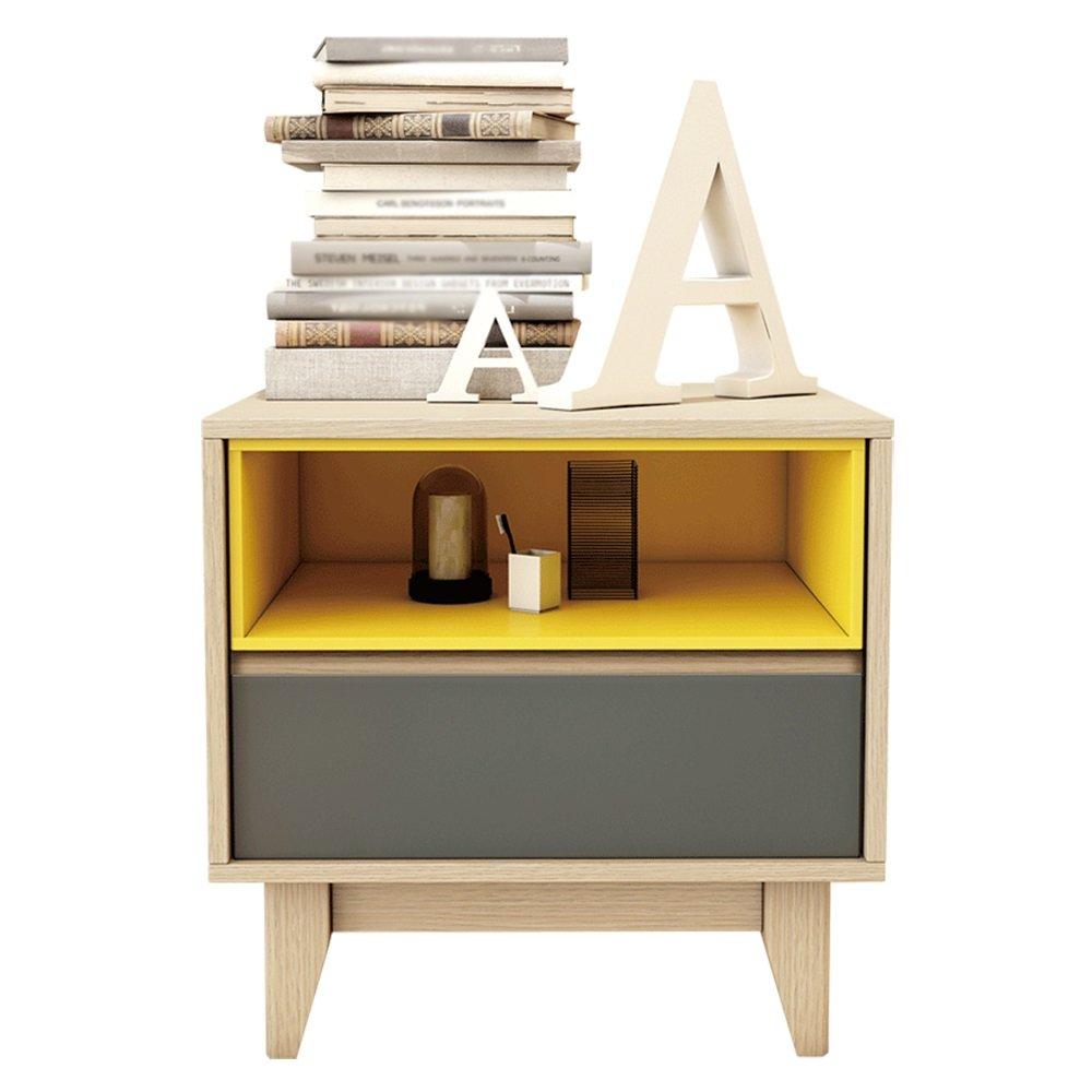 YM-Nachttisch Nachttisch - 2-Schicht-Mini-einfache Holz-Locker Nordic-kleine Wohnung Multifunktions-Schlafzimmer Nachttisch Locker Größe: 50 X 40 X 50 cm XH