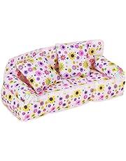 ETHAHE 20 x 7.5 x 8cm White Background Colorful Flower Print Coach/Sofa For Barbie Miniature Furniture + 2Pcs 6 x 6cm Cushions
