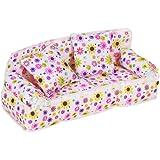 Sofa Canapé Miniature à Impression de Fleurs Mobilier pour les Poupées